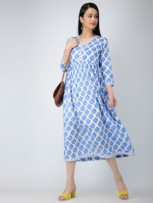 Blue-Ivory Printed Cotton Dress with Tassels