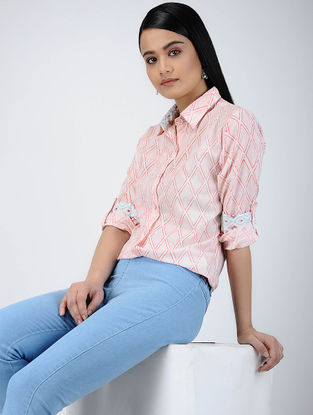 Pink-Ivory Printed Cotton Long Shirt