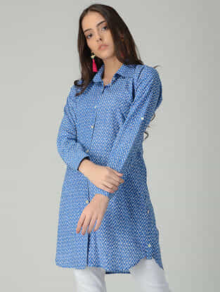 Blue-Ivory Printed Cotton Long Shirt