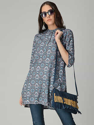 Grey-Blue Printed Cotton Short Kurta