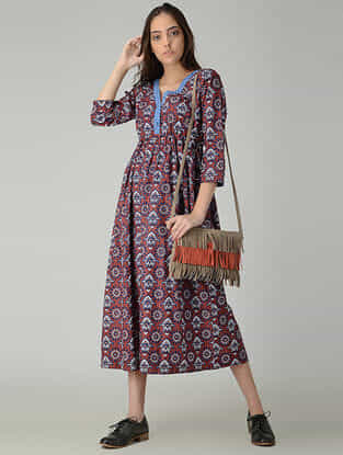 Maroon-Blue Printed Cotton Dress with Tassels