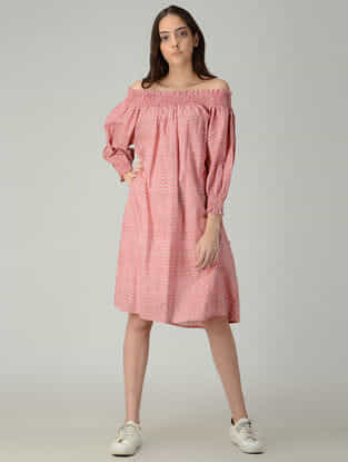 Peach-Ivory Printed Cotton Off-shoulder Dress