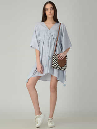 Grey-Ivory Printed Cotton Tie-up Waist Kaftan