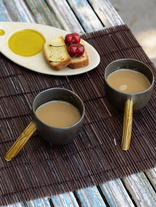 Bamboo Bark Handle Cup-Set of 2 5.5in x 3in x 2.5in