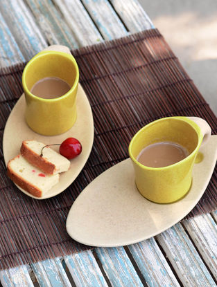 Mug with Oval Saucer-Set of 2