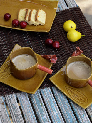 Square Cup with Champa Saucer-Set of 2