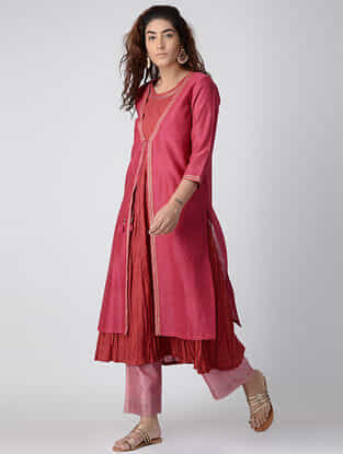 Fuchsia Hand-embroidered Cotton-silk Kurta with Slip (Set of 2)