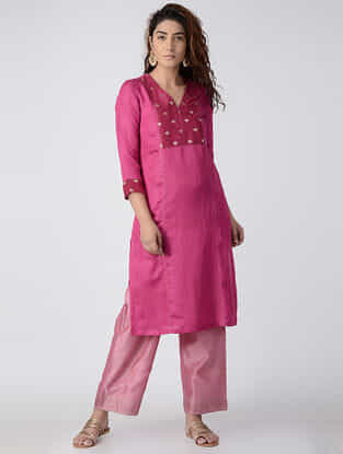 Fuchsia Embroidered Linen-Satin Kurta