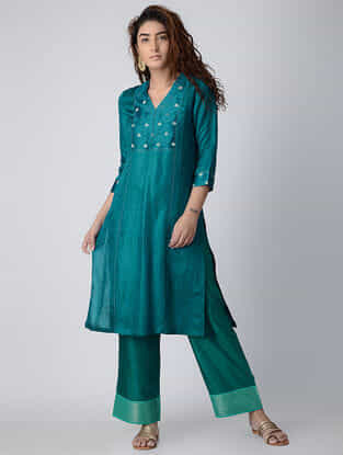 Teal Embroidered Linen-Satin Kurta