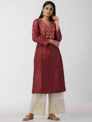 Maroon Hand-embroidered Chanderi Kurta