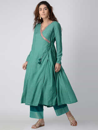 Green Hand-embroidered Modal Silk Angrakha Kurta