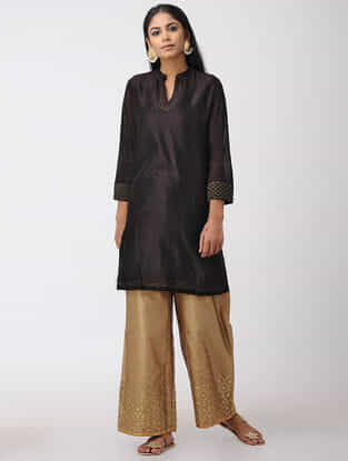 Black Hand-embroidered Chanderi Tunic