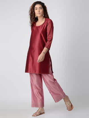 Maroon Embroidered Chanderi Tunic