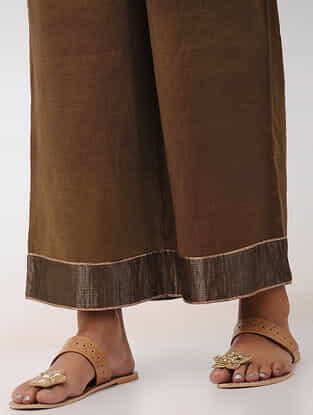 Brown Embroidered Elasticated Waist Chanderi Palazzos