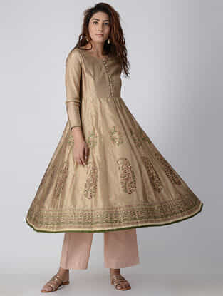 Beige Embroidered Chanderi Anarkali Kurta