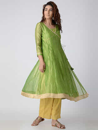 Green Embroidered Chanderi Angrakha Kurta