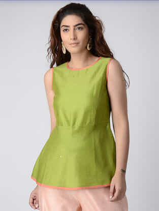 Green Chanderi Top with Mukaish