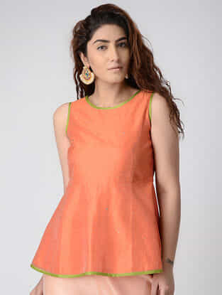 Peach Chanderi Top with Mukaish