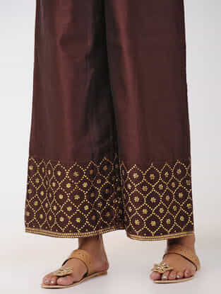 Wine Hand-embroidered Elasticated Waist Chanderi Palazzos