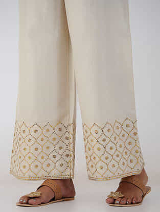 White Hand-embroidered Elasticated Waist Chanderi Palazzos
