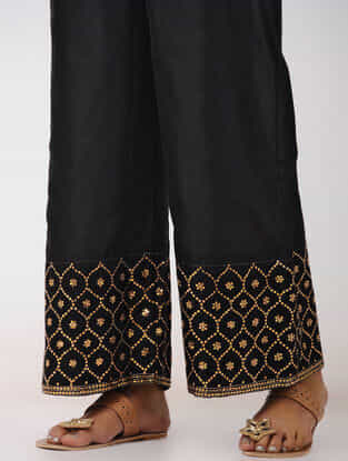 Black Hand-embroidered Elasticated Waist Chanderi Palazzos
