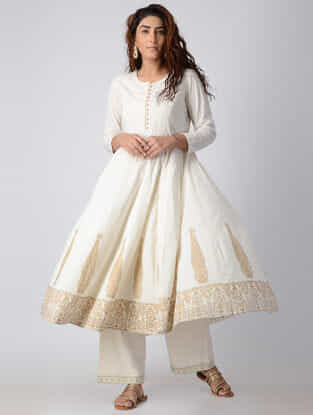 Ivory Embroidered Cotton Voile Anarkali Kurta