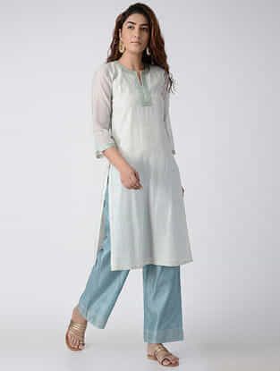Teal Embroidered Chanderi Kurta