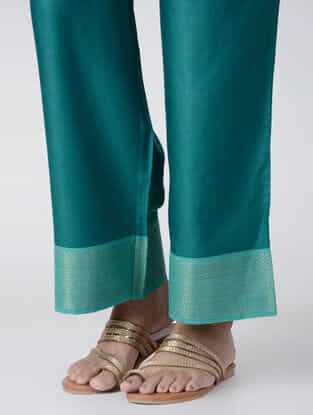 Teal Embroidered Elasticated Waist Cotton Palazzos
