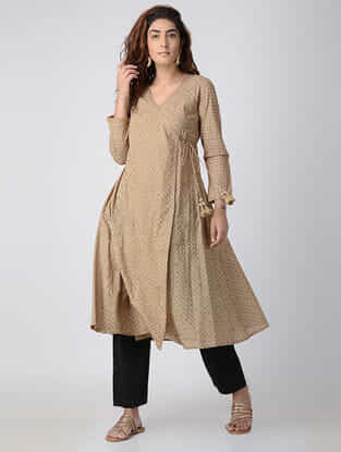 Beige Embroidered Cambric Angrakha Kurta