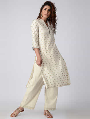 White Hand-embroidered Chanderi Kurta