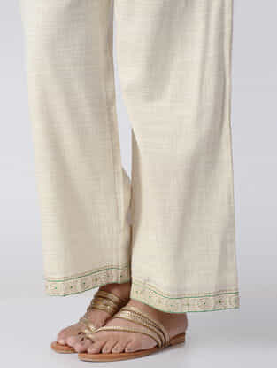 White Embroidered Elasticated Waist Cotton Slub Palazzos
