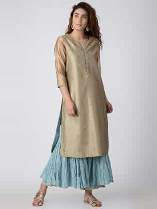 Beige Hand-embroidered Chanderi Kurta