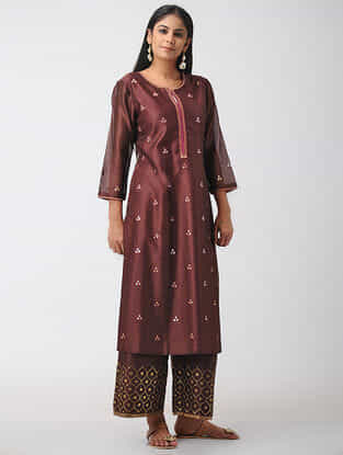 Wine Hand-embroidered Chanderi Kurta