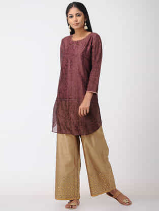 Wine Hand-embroidered Chanderi Tunic