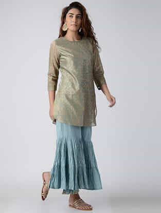 Beige Hand-embroidered Chanderi Tunic