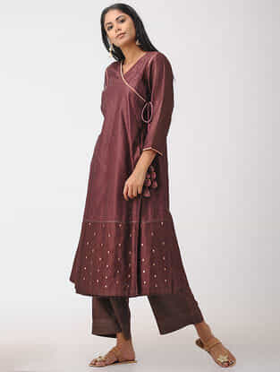 Wine Hand-embroidered Chanderi Angrakha Kurta