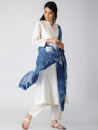 Indigo-White Shibori Natural-Dyed Chanderi Dupatta