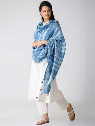 Indigo-White Shibori Natural-Dyed Chanderi Dupatta with Zari Border and Tassels