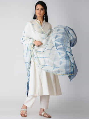 White-Indigo Shibori Natural-Dyed Chanderi Dupatta with Zari Border
