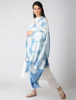 White-Indigo Shibori Natural-Dyed Chanderi Dupatta
