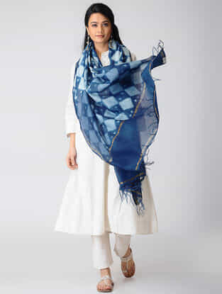 Indigo-White Shibori Natural-Dyed Chanderi Dupatta with Zari Border