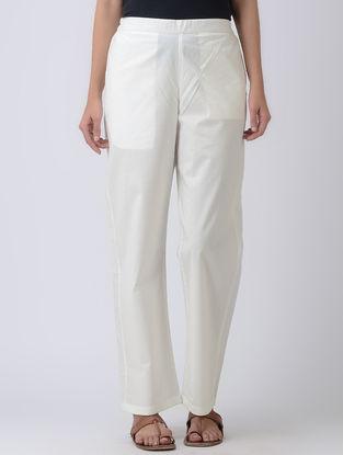 Ivory Elasticated Waist Cotton Silk Pants