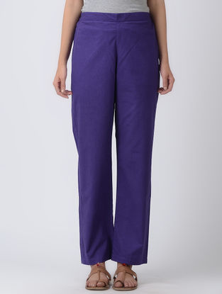 Purple Elasticated Waist Cotton Silk Pants