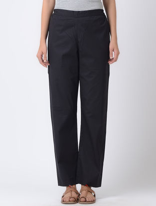 Black Elasticated Waist Cotton Silk Pants