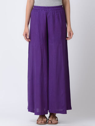 Purple Elasticated Waist Viscose Palazzos