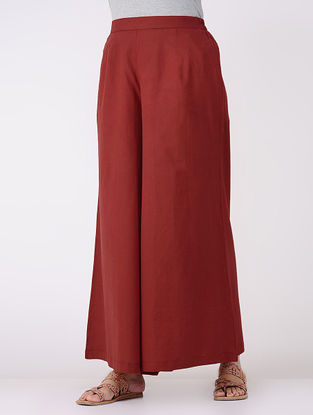 Red Elasticated Waist Cotton Palazzos
