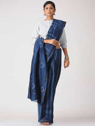 Indigo-White Shibori Natural-Dyed Chanderi Saree with Zari Border