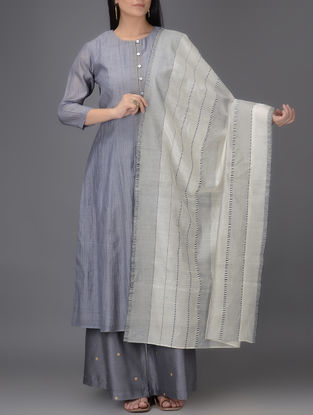 Ivory-Grey Chanderi Dupatta
