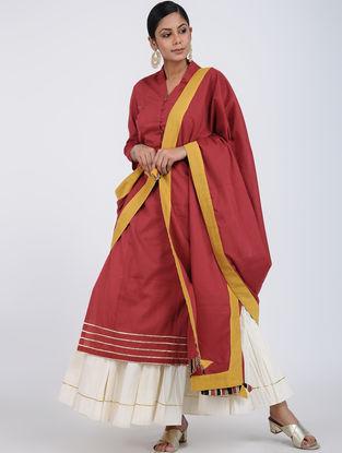 Red Block-printed Cotton Dupatta