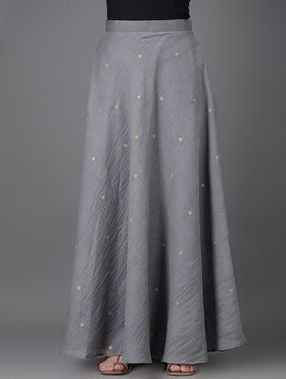 Grey Khari-printed Elasticated Waist Chanderi Skirt